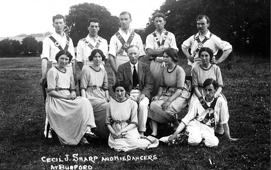 Group photograph of Cecil Sharp and his Morris Dancers at Burford