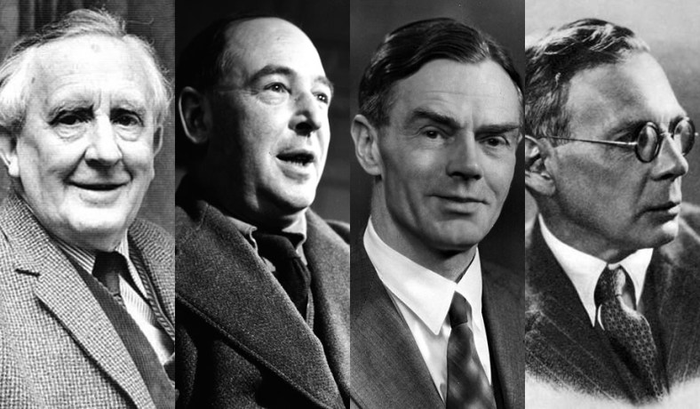Portraits of the Inklings - Left to Right JRR Tolkien, CS Lewis, Owen Barfield, Charles Williams
