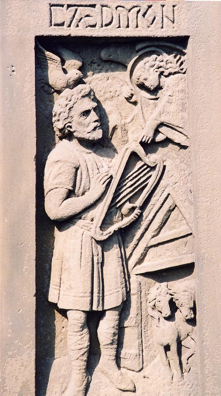 Stone carving of Caedmon - the earliest English (Northumbrian) poet whose name is known