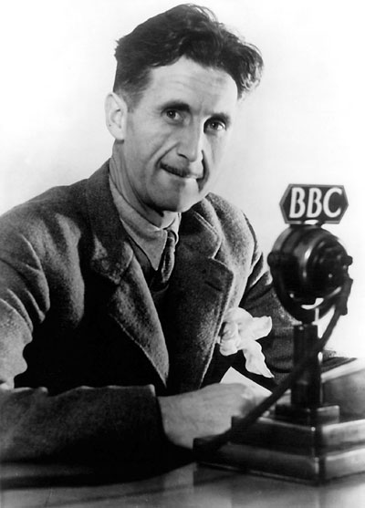 A photograph of George Orwell writer