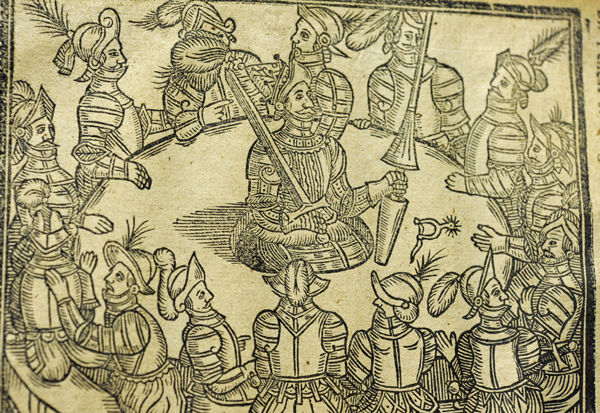 Detail of the woodcut of King Arthur literally in his roundtable, used in the 1634 edition of Malory's Morte d'Arthur. Image courtesy: University of St Andrews