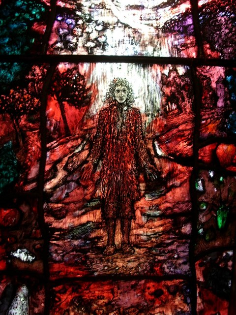 A photograph of the stained glass window of Thomas Traherne at Hereford Cathedral