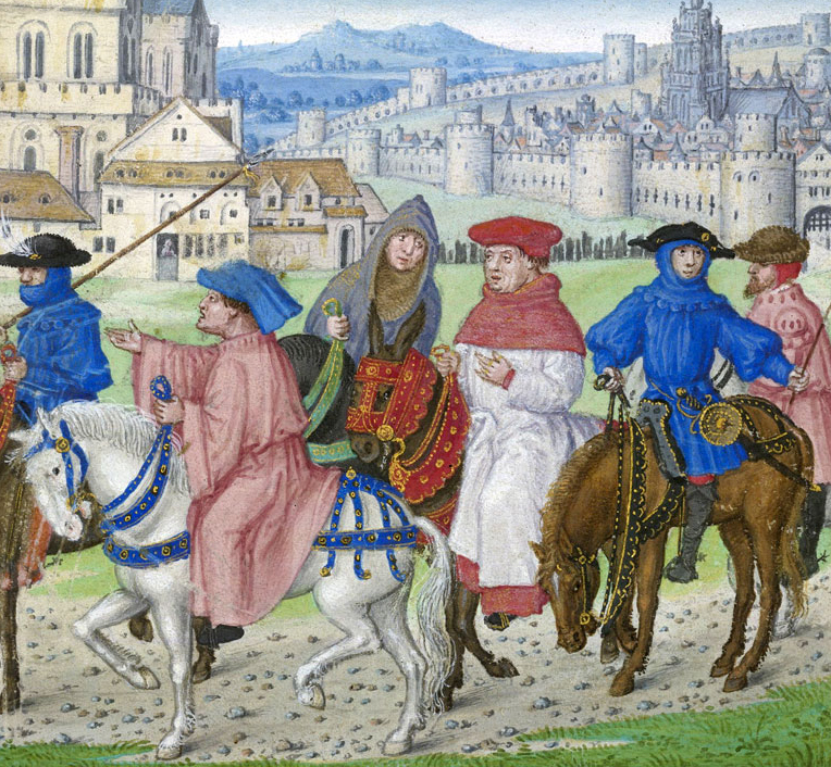 A painting attributed to the artist Gerard Horenbout and painted between 1516 - 1523 of Pilgrims on the road to Canterbury