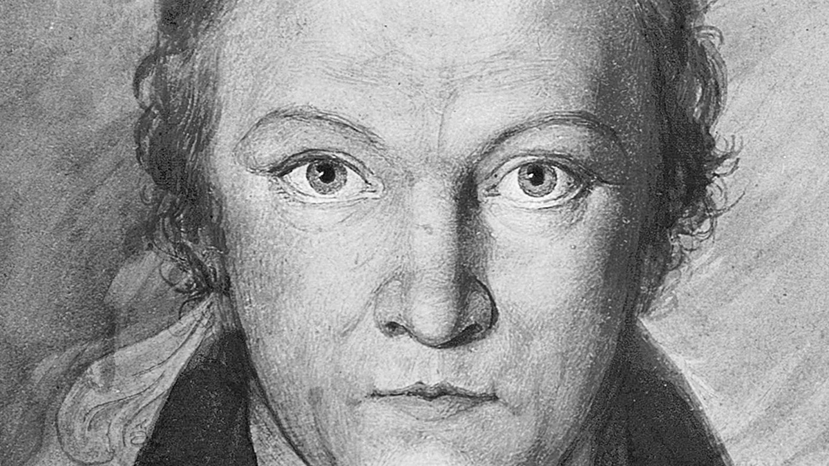 Self Portrait of William Blake painted in 1802. Monochrome Wash. Public Domain