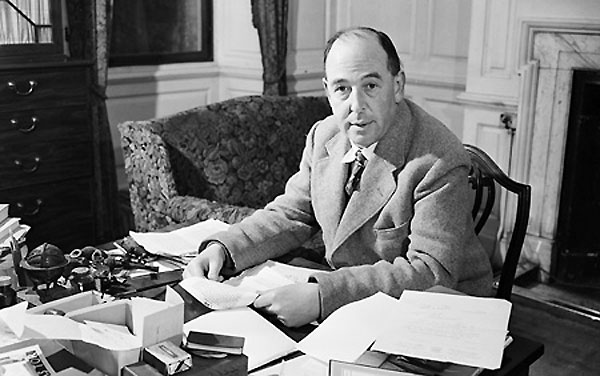 Photograph of the author CS Lewis at his desk